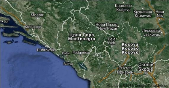 Černá Hora na mapách Google