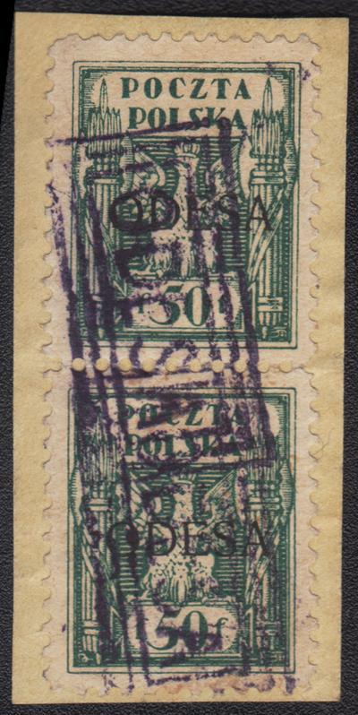 Par znamek 50 f na ustrizku dopisu fotoatest Schmutz 4800 PLN